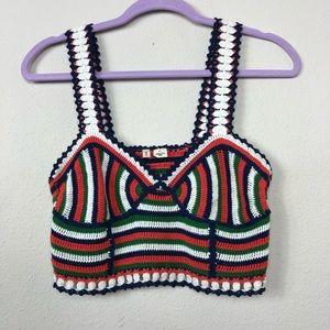Anthropologie Moth Crochet Crop Top Small